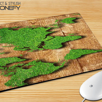 World Map Grass Mousepad Mouse Pad|iPhonefy