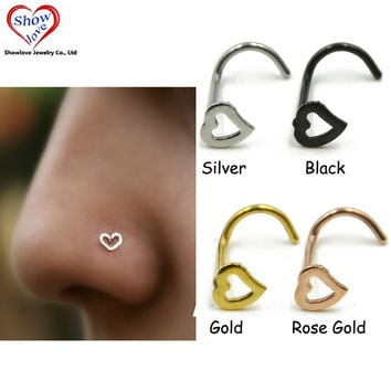 Showlove-Surgical Steel Hollow Heart Nose Screw Rings Studs Piercing -JM0414