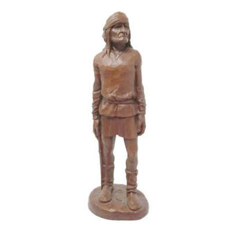Native American Indian Figurine |  Large Indian Figurine |  Red Mill Mfg |  Statue |  Made with Pecan Nut Shells |  USA gift