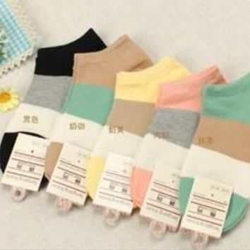 Candy Color Women Short Ankle Boat Low Cut Sport Socks Crew Casual [8321354503]