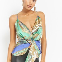 Ornate Print Twist-Front Cami Top