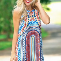 All The Colors Print Shift Dress