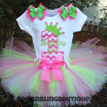 1st Birthday Outfit Hot Pink and lime green Chevron Tutu First Birthday