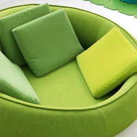 Upholstered round sofa with removable cover EASE Aqua Collection by Paola Lenti | design Francesco Rota