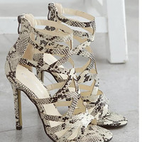 vintage classic womens sandals open toe strappy caged cut outs hollow animal snakeskin print pu leather anle boots pumps heels