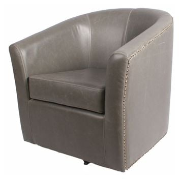 Ernest Bonded Leather Swivel Chair, Vintage Gray