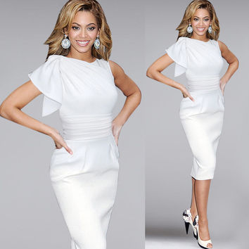 Womens Elegant Ruffle Sleeve Ruched Party Wear To Work Fitted Stretch Slim Wiggle Pencil Sheath Bodycon Dress