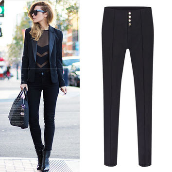 Pleat Buttons Pencil Pants