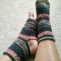 Toeless Yoga/Pedicure Socks Hand Knit in by MadebyMegShop on Etsy