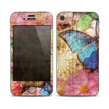 The Vintage Blue Butterfly Background Skin for the Apple iPhone 4-4s