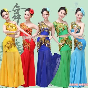 New Chinese Traditional Dress Girls Women Dai National Folk Fan Dance Costume Long Mermaid Peacock Dance Costume Dress