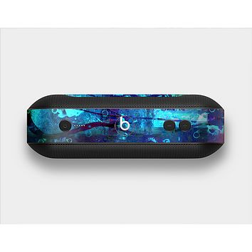 The Abstract Blue Vibrant Colored Art Skin Set for the Beats Pill Plus