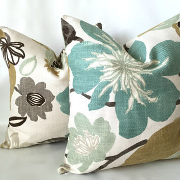 Designer Pillow Cover - Floral Pillow Cover, Modern Decor, Kravet Pillow, Jellybean Pillow, Tapestry Pillow, Aqua Gold Taupe Pillows