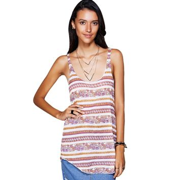 Casual U-Neck Ethnic Print Racerback Top For Women