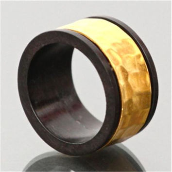 Black Wood And Gold Ring - Tribal Jewelry - Ethnic Jewelry - Unisex Jewelry - Native American Jewelry - Natural Jewelry