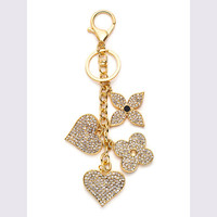 Gold Plated Rhinestone Flower Heart Keychain