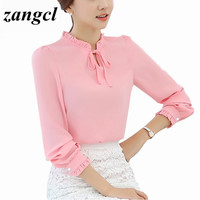 Zangcl Women Shirts Long Sleeve Stand Collar  Bow Blouses Elegant Ladies Chiffon Blouse Tops Fashion Office Work Wear