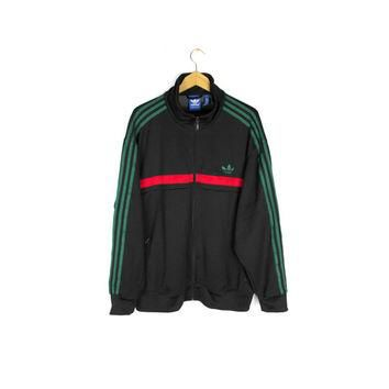 ADIDAS track jacket - black + green + red - mens XXL