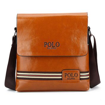 POLO Popular Men Stripe Business Shoulder Bag Casual Briefcase Khaki