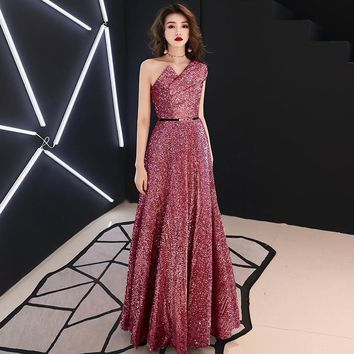 Sexy One Shoulder Sequin Long Elegant Sleeveless Ball Gown Maxi Dress