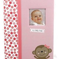 Carter's Baby Girl Memory Book - Pink, Polka-dots & Monkey 5 Year Baby Journal