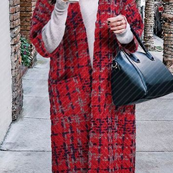 Red Plaid Pockets V-neck No Button Long Sleeve Cardigan Coat