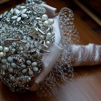 Vintage Style Brooch Bouquet. Full Price Crystal Bling Pearl Heirloom Keepsake Bridal Bouquet, Wedding bouquet, Bridal Bouquet