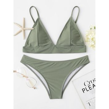 Women's Army Green Triangle Top Two Piece Swimsuit Bikini Set with Adjustable Straps