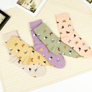 2017 High Quality Colorful Tube Art Casual Cotton  Cartoon Cute Cat Face Thin Section Invisible Funny Socks Women Lady Girls