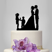 family wedding cake topper with boy and girl, bride and groom silhouette, rustic cake topper, wedding silhouette, funny cake decor, acrylic