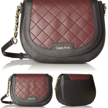 Calvin Klein Key Items Saffiano Saddle Bag, Blk/Rum Raisin Quilted Saffiano Leather