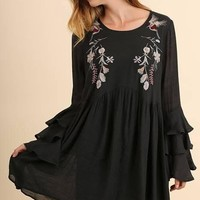 Black Layered Ruffle Embroidered Dress