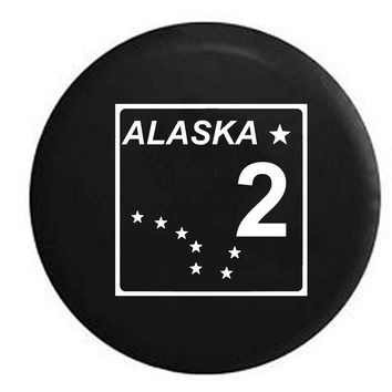 Alaska State Route Highway 2 Stars Scenic Route Sign RV Camper Jeep Spare Tire Cover