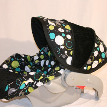 Hoopla Dot with BLACK minky boy  Infant car seat cover- Custom Order