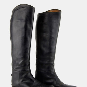 BLACK Leather Equestrian Riding Boots Vtg 70's Biltrite Soles Tall Fitted Neoprene Knee High English Horse Stiff Round Toes - 6.5 US/36.5 EU