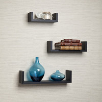 DanyaB Floating 'U' Laminated 3 Piece Shelf Set
