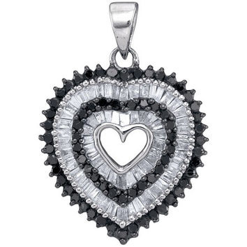 Black Diamond Micro-pave Pendant in 10k White Gold 0.9 ctw