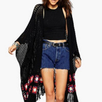 Black Floral Patch Fringed Knitted Long Cardigan