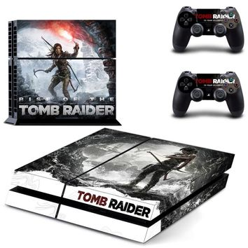 Rise of The Tomb Raider PS4 Skin Sticker Decal For Sony PlayStation 4 Console and 2 Controllers PS4 Skin Sticker Vinyl