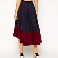 ASOS Midi Skirt With Contrast High Low Hem