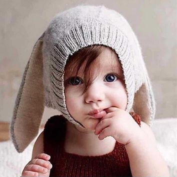 Toddler children Knitted Baby Hat Adorable Rabbit Long Ear Hat Baby Bunny Beanie Cap Photo Props 0-2 Years Girl Boy Accessories