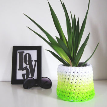 Ombre Green Crochet Basket - Ombre Green Crochet Storage Baskets - Trendy air Planter - Mother's Day Gifts - Weddings Decor