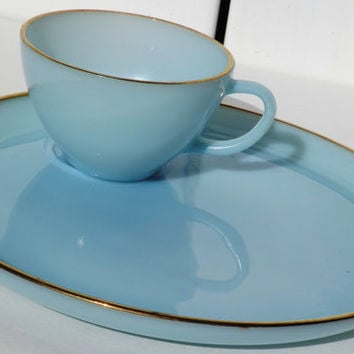 Fire King Blue Milk Glass Plates and Cup with Gold Edging