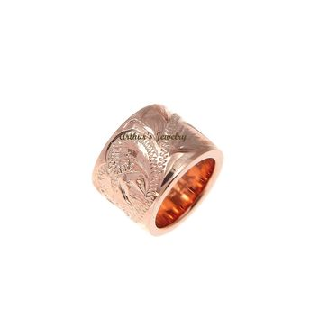 SOLID 14K ROSE GOLD HAND ENGRAVED HAWAIIAN SCROLL BARREL TUBE PENDANT 5.8MM
