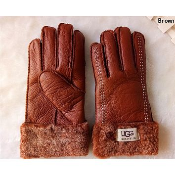 """UGG"" Winter Popular Woman Men Warm Leather Fur Gloves Brown"