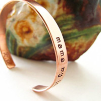 Single Copper Cuff for Quotes, Mantras, Identification or Sayings for You or Your Person Version