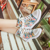Fashion Womens Canvas Flower Printing Zipper Low Heels Strap Rivet Sneaker Shoes