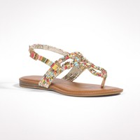 Beaded Striped Sandals