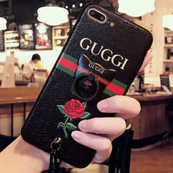 Gucci Iphone7 mobile phone shell women fall all silica I8 iPhone7plus protective sleeve 8plus lanyard bracket Black