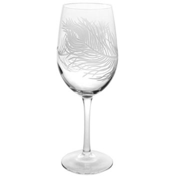 Rolf Glass Peacock Feather White Wine 12 oz. Glasses (set of 4)
